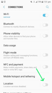 how to turn off location services, save battery power by turning of location services